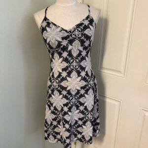 Prana black gray tropical floral boho  dress